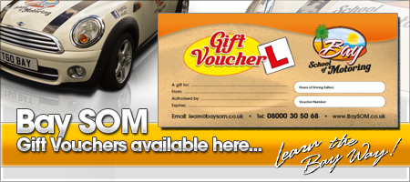 Driving Lesson Gift Vouchers available from Bay School of Motoring - Driving School Torbay